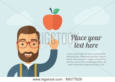 A Man pointing the red apple icon. A contemporary style with pastel palette, light blue cloudy sky background. Vector flat design illustration. Horizontal layout with text space on right part.