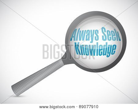 Always Seek Knowledge Magnify Glass Sign Concept