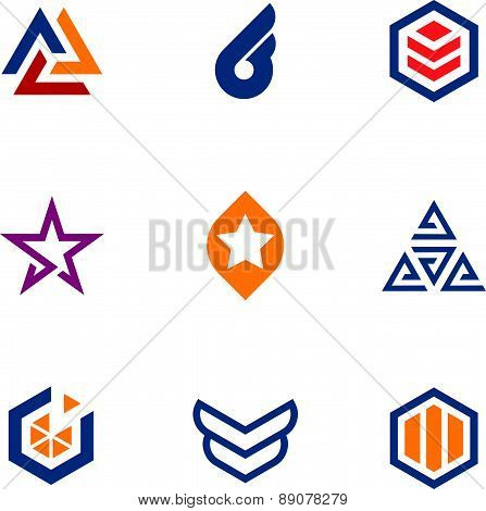 The game of star success business company logo icon set