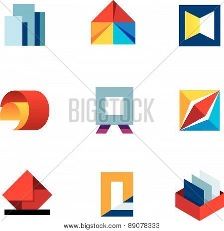 Office inspire innovation colorful business productivity tools logo icon set