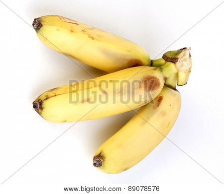Close up of bananas on white background