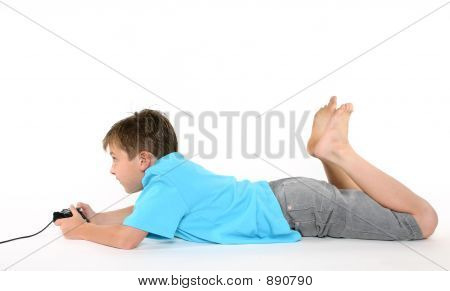 Boy Using Console Playing Games