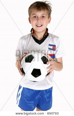 Happy Boy With A Soccer Ball