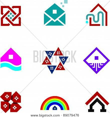 Real estate foundation great building house construction abstract logo icon