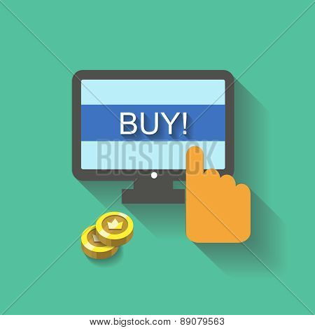 Flat vector business concept Online shopping hand  buy button on screen for website and promotion ba