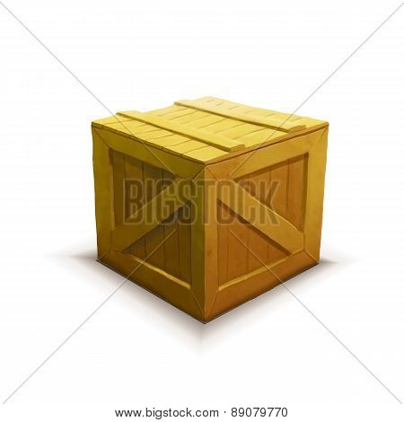 Yellow wooden crate, realistic icon isolated on white