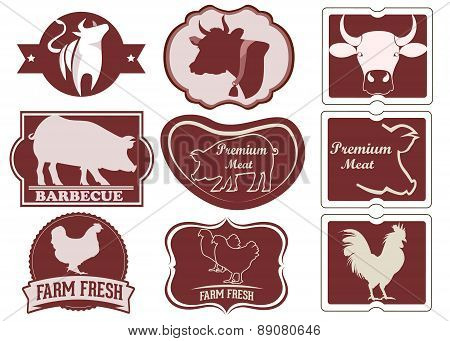 Vintage meat icons