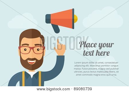 A Man pointing the megaphone icon. A contemporary style with pastel palette, light blue cloudy sky background. Vector flat design illustration. Horizontal layout with text space on right part.
