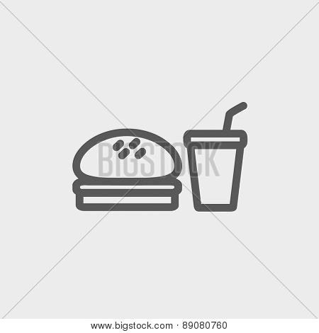 Fast food meal icon thin line for web and mobile, modern minimalistic flat design. Vector dark grey icon on light grey background.