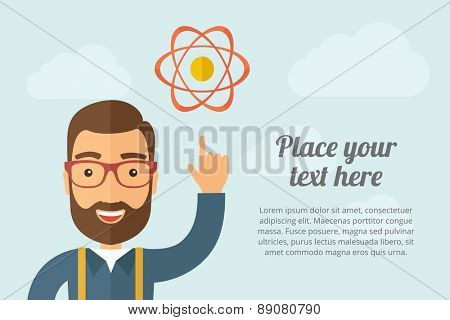 A Man pointing the atom icon. A contemporary style with pastel palette, light blue cloudy sky background. Vector flat design illustration. Horizontal layout with text space on right part.