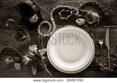 Table Setting In Retro Style, Top View. Black And White Stylized.