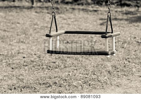 Children's Swing On Chains Of Beige Color