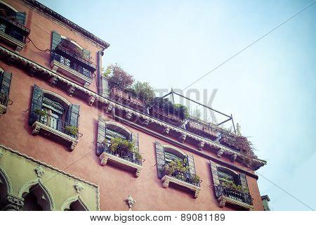 Antique Building Facade In Venice