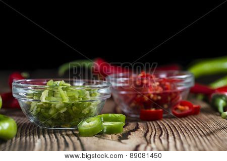 Mixed Cutted Chilis (red And Green)