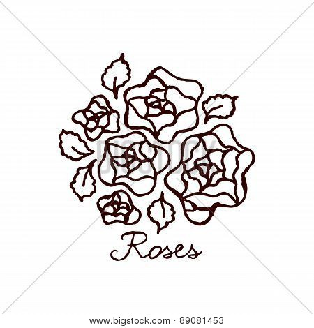 Handsketched bouquet of roses