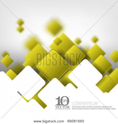 eps10 vector green geometric round corner square overlapping with depth of field background