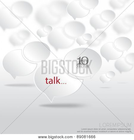 eps10 vector floating overlapping chrome speech balloon chat icon background