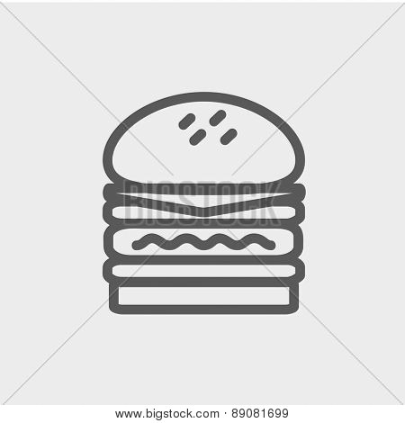 Double burger icon thin line for web and mobile, modern minimalistic flat design. Vector dark grey icon on light grey background.