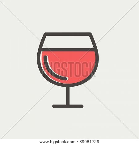 Glass of wine icon thin line for web and mobile, modern minimalistic flat design. Vector icon with dark grey outline and offset colour on light grey background.