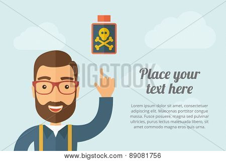 A Man pointing the poisonous bottle icon. A contemporary style with pastel palette, light blue cloudy sky background. Vector flat design illustration. Horizontal layout with text space on right part.