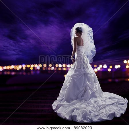 Bride In Wedding Dress With Veil, Fashion Bridal Beauty Portrait, Long Draped Cloth With Folds, Rear