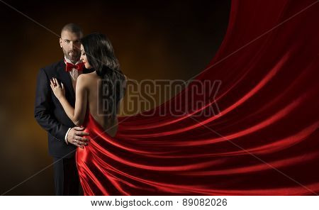 Couple Beauty Portrait, Man In Suit Woman In Red Dress, Rich Lady Waving Silk Fabric
