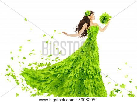 Woman Green Leaves Dress, Fantasy Creative Beauty Floral Gown, Spring And Summer Fashion