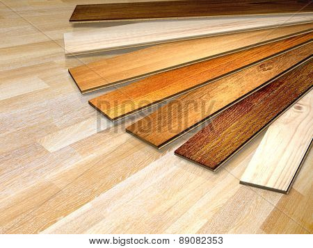 New oak parquet of different colors. 3d render