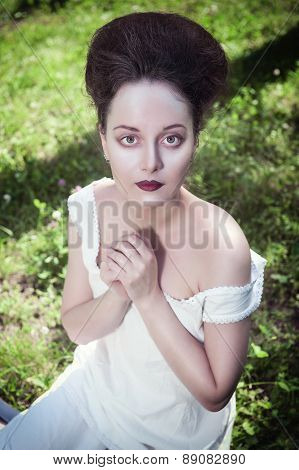 Beautiful Young Gothic Woman In White Shirt