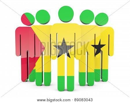 People With Flag Of Sao Tome And Principe