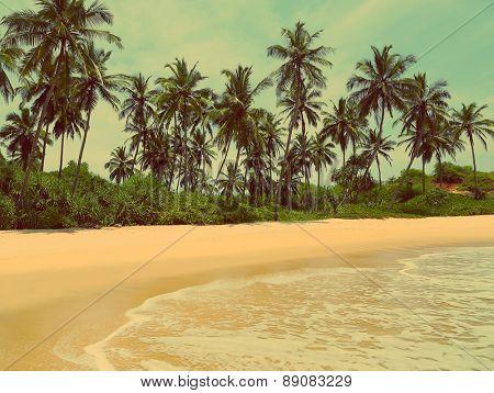 beautiful tropical beach landscape - vintage retro style
