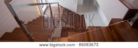 Wooden Staircase In Exclusive House