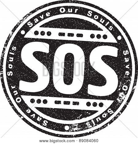 Rubber Stamp With The Words Sos, Save Our Souls And Morse Code