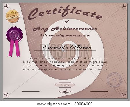 Gift Certificate, Diploma, Coupon, Award Of Course Completion Template With Swirl Background In Vect