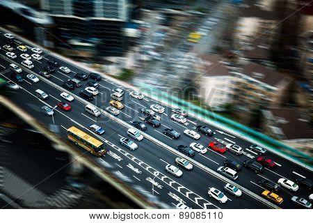 traffic at night, shanghai china.