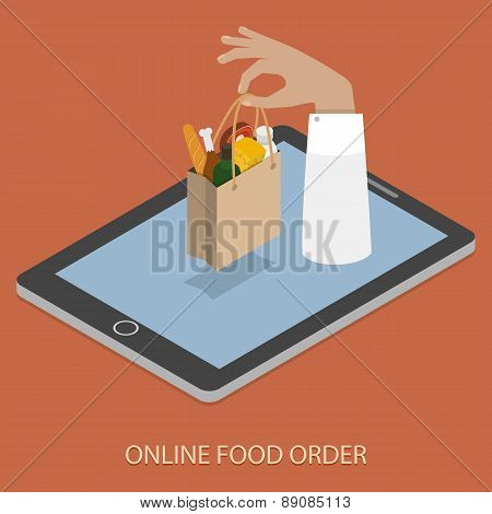 Online Foood Ordering Concept Illustration.