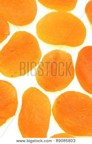 Dried apricot on white background