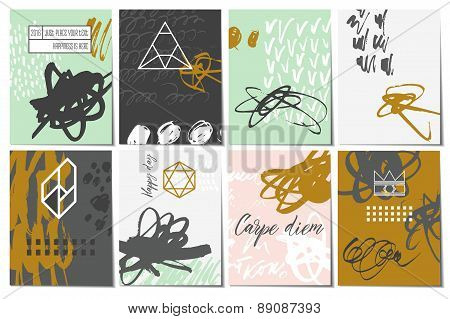 Creative card set. Set of hand drawn elements. Blots, stains, dirt, dots, ticks, etc..