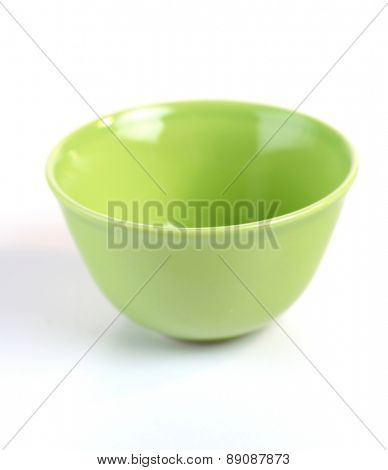 Green bowl on white background - studio shot