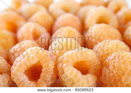 Studio shot of yellow raspberries