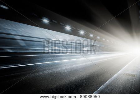 speeding car through the tunnel.