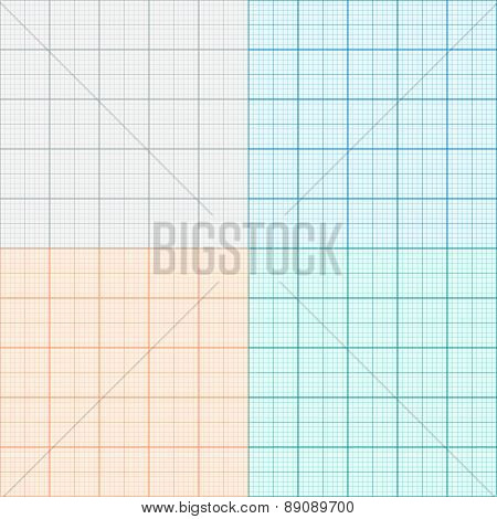 A Set Of Graph Paper In Four Colors. Plotting Paper. Vector