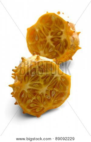 Kiwano on white background - close-up