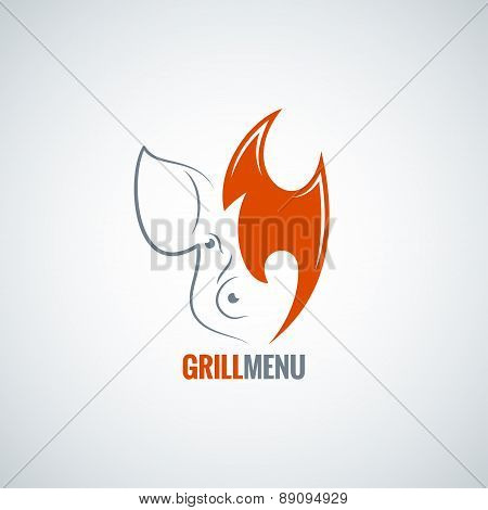 pig pork meat fire concept background