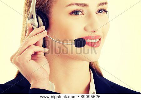 Young beautiful caucasian call center woman