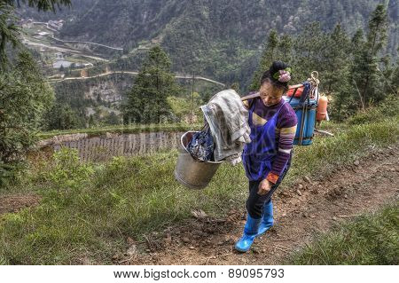 Chinese Woman Farmer With A Yoke On His Shoulder.