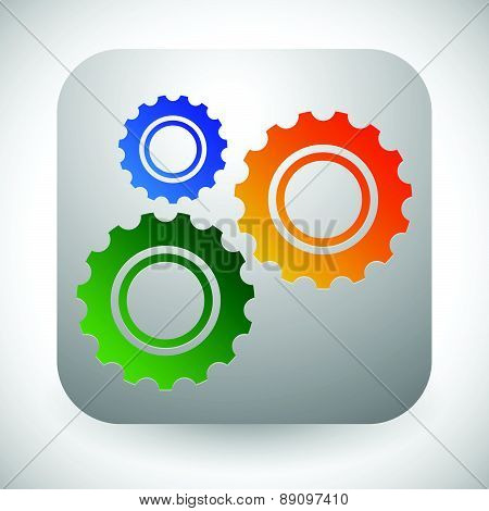 Gears, Cogwheels Icon, Graphics For Maintenance, Repair, Manufacturing And Development Concepts.