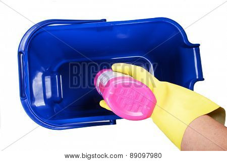 Blue busket on white background