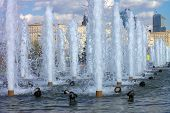 stock photo of fountain grass  - image of many fountain on street at day - JPG
