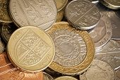 image of coins  - British coins in full frame background - JPG